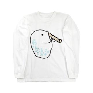 尺八を吹くミジンコ Long sleeve T-shirts