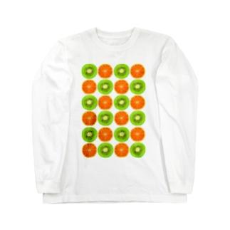 いちごパフェとか。のキウイとオレンジ Long sleeve T-shirts