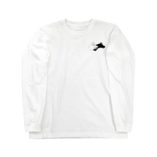 シンプルが好き。の犬と見せかけて。(small image ver.) Long sleeve T-shirts