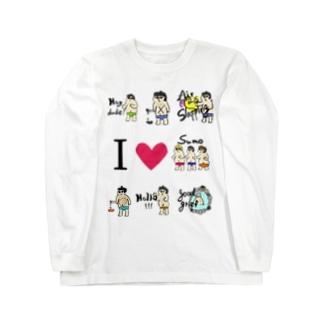 yuruholismのSunglasses Sumo Wrestler 相撲 力士 大関 サングラス Long sleeve T-shirts