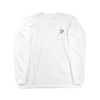 ひょっこりパグさん(あか)/チャリティー Long sleeve T-shirts