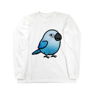 Cody the LovebirdのChubby Bird アオコンゴウインコ Long sleeve T-shirts