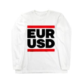 ユロドル ユーロドル EURUSD FX 為替 両替 RUNDMC風 黒字黒フォント 黒字の文字なのでカラーは白色がオススメです 黒色だと文字が分かりません Long sleeve T-shirts