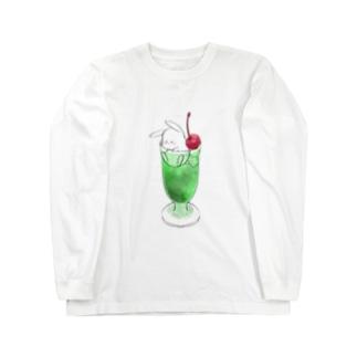 おおかみぴえろのうさぎのクリームソーダ Long sleeve T-shirts