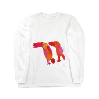 天才アートKYOTO 長村駿_1 アカショウビン Long sleeve T-shirts