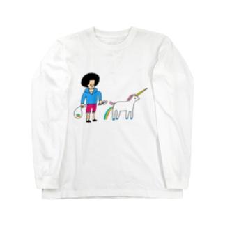 花くまゆうさくのユニコーンと散歩 Long sleeve T-shirts