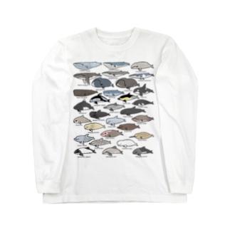 ゆるホエール(横向き) Long sleeve T-shirts