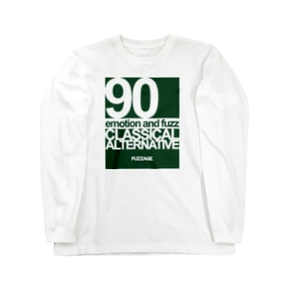FUZZAGE™ (ファズエイジ)のFUZZAGE No.8 Classical Alternative Rock (Green/White) Long sleeve T-shirts