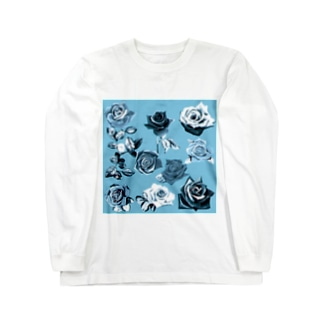 KAERUCAFE SHOPの青いバラ Long sleeve T-shirts