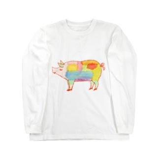 ぶた好き Long sleeve T-shirts