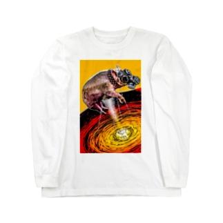 ガスマスク豚 Long sleeve T-shirts