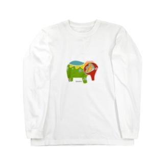 カラフルなぞうさん Long sleeve T-shirts