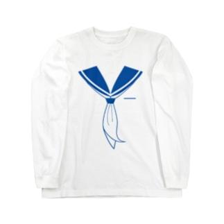 illust_designs_labのセーラー服 青 Long sleeve T-shirts
