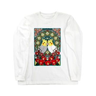 オカメインコ椿【まめるりはことり】 Long sleeve T-shirts