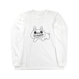 KURUMIMISHOPのゆるゆるブルドッグ Long sleeve T-shirts