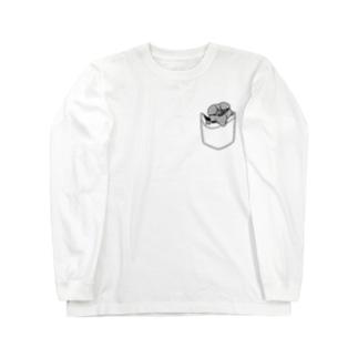 ポッケを探るインコ Long sleeve T-shirts