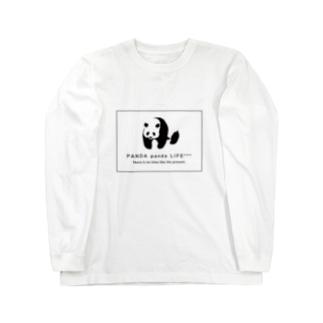 のしのしパンダ スクエア Long sleeve T-shirts