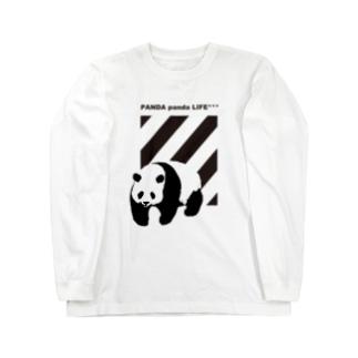 飛び出すパンダ ストライプ Long sleeve T-shirts