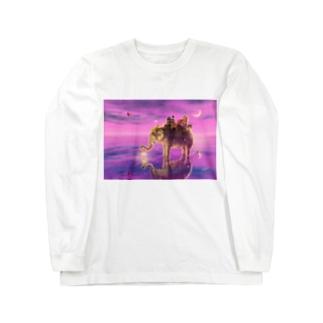 旅する象ピンクバージョン  Long sleeve T-shirts