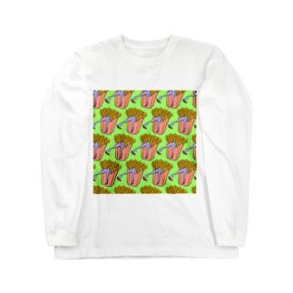 Mieko_Kawasakiの魅惑のフライドポテト🍟 GULTY PLEASURE FRENCH FRIES GREEN Long Sleeve T-Shirt
