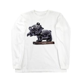 木彫りの熊風粘土のクマさん Long sleeve T-shirts