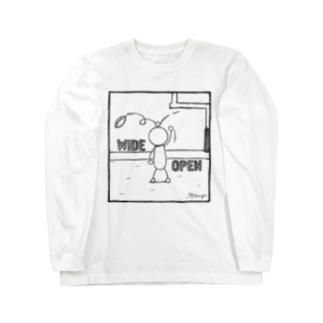PBスティック君 wide open  Long sleeve T-shirts