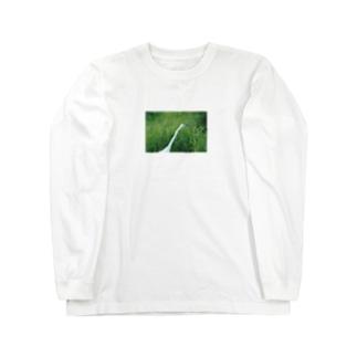 婚姻色のダイサギ Long sleeve T-shirts