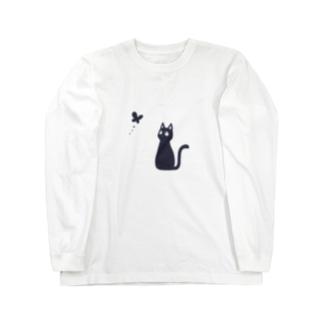 もずくろショップの蝶と黒猫 Long sleeve T-shirts