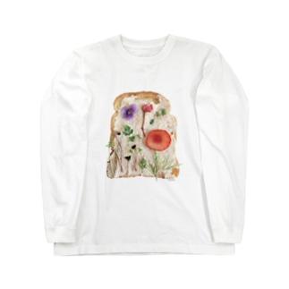 ℂ𝕙𝕚𝕟𝕒𝕥𝕤𝕦 ℍ𝕚𝕘𝕒𝕤𝕙𝕚 東ちなつの押し花トースト Long sleeve T-shirts