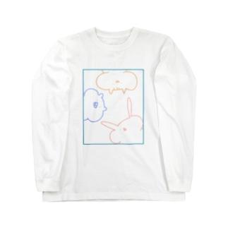 [単色.集合]ほっぺふくらみ動物たち Long sleeve T-shirts