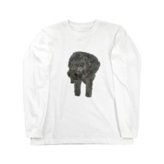 よそんちのモフちゃん(黒プー) Long sleeve T-shirts