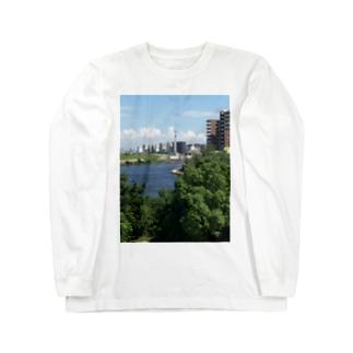街並み 東京スカイツリーを添えて Long sleeve T-shirts
