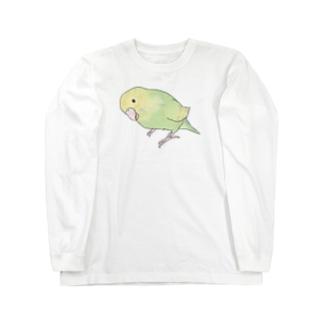 首傾げ スパングルセキセイインコちゃん【まめるりはことり】 Long sleeve T-shirts
