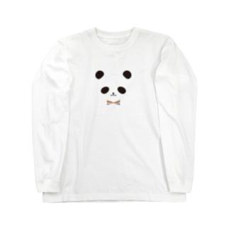 カラフル蝶ネクタイ パンダ Long sleeve T-shirts