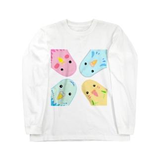 インコのイラスト Long sleeve T-shirts