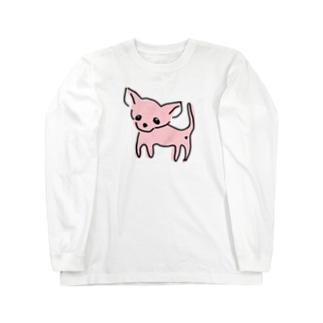 ゆるチワワ(ピンク) Long sleeve T-shirts