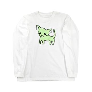 akane_artのゆるチワワ(グリーン) Long sleeve T-shirts