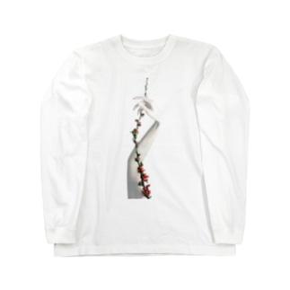 アルビノの手と花 Long sleeve T-shirts