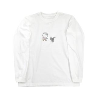猫にちょっかいだす夫・サミ太郎 Long sleeve T-shirts