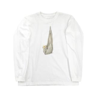 尾羽がピン 可愛いオカメインコちゃん【まめるりはことり】 Long sleeve T-shirts