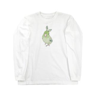 お羽飾り マメルリハちゃん【まめるりはことり】 Long sleeve T-shirts