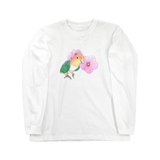 お花とシロハラインコちゃん【まめるりはことり】 Long sleeve T-shirts