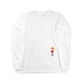 サッカーボールと少年(カラー) Long sleeve T-shirts