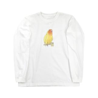 得意げ可愛い コザクラインコちゃん【まめるりはことり】 Long sleeve T-shirts