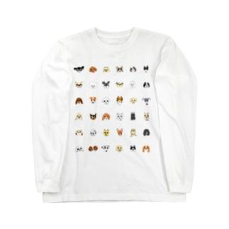 犬たち 36匹 黒文字バージョン Long sleeve T-shirts