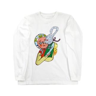 大須賀理恵のカエル頭巾の少女とネズミ Long sleeve T-shirts