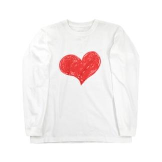 ハートマーク手書き Long sleeve T-shirts