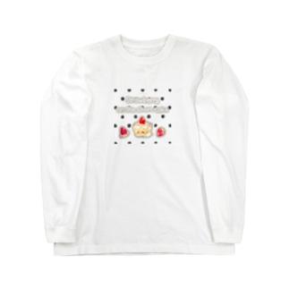 どるちぇ*うさぎの《フード01》*苺のショートケーキ*白黒ドット Long sleeve T-shirts