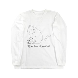 名言シリーズ イラストT(猫 グレー) Long sleeve T-shirts