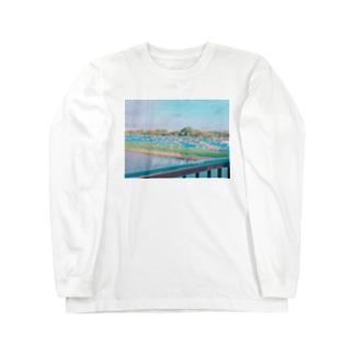 ブルーシートの川 Long sleeve T-shirts